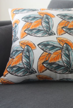 leaf orange cushion 20% SALE